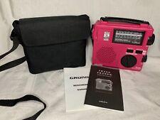 Grundig LL Bean FR-200 Emergency Crank Radio World Band Receiver in Case PINK