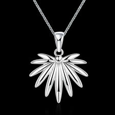 Silver Plated 925 Solid Flower Leaf Weed Abstract Dangle Pendant Necklace. 1323