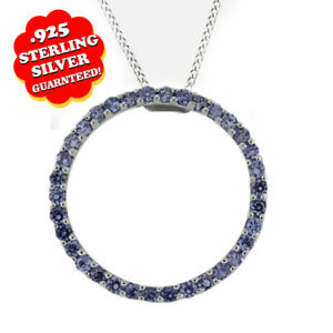 "3.00 Round Tanzanite 14K White Gold Over Circle Pendants 18"" Chain Necklace $129"