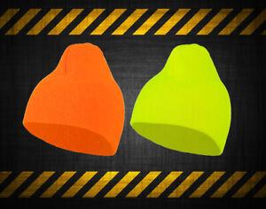 New Unisex Adult Warm Winter Work Neon HI VIS Beanie Construction Hat