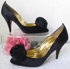 Vintage Beverly Feldman Black Satin High Heels 7N Fabric Silk Rose Pom Leather