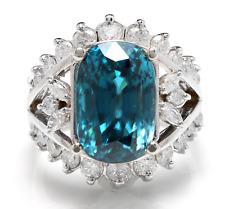 13.50 Carati Naturale Blu Zircone e Diamante 14K Solido Bianco Anello Oro