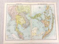 1898 Map of The East Indies Siam Malaysia Sumatra Bartholomew Antique Original