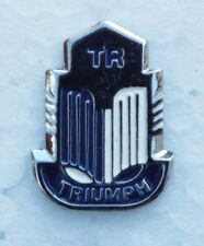 TRIUMPH TR ENAMEL LAPEL BADGE, BLUE. 17x22mm. BUTTERFLY PIN FIXING.