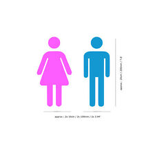 Ladies & Gents Toilette Signe Autocollant | 20 cm haute | Rose & Bleu Clair