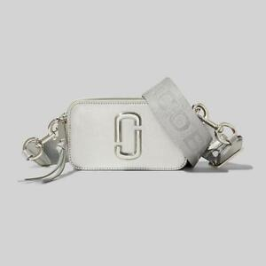 Marc Jacobs THE Snapshot DTM Metallic Small Camera Bag Crossbody Silver Auth