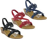 Cushion Walk Comfort Slingback Open Toe Summer Sandals Wedge Womens Shoes UK 3-8
