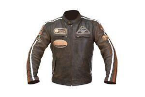 Leather Vintage Retro Style Motorcycle Motorbike CE Armoure Protection Jacket