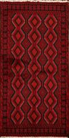 Geometric Hand-Knotted Traditional Balouch Afghan Area Rug Oriental Carpet 3'x6'