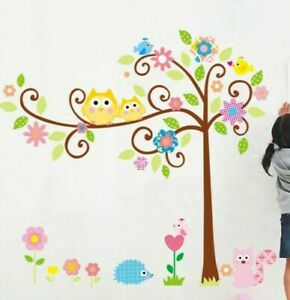 Cartoon Owl Tree Cute Flowers & Animal Removable Wall Sticker Decal for Nursery