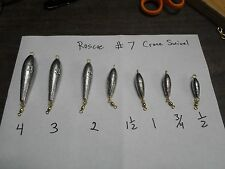 INLINE TORPEDO TROLLING SINKER 1/2 3/4 1 1-1/2 2 3 4 OZ   21 OF THEM  #7  swivel