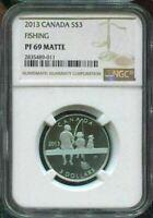 2013 CANADA $3 - FISHING - NGC PF69 MATTE /w BOX & COA - SILVER COIN