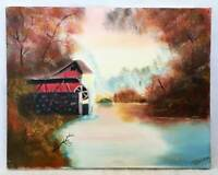 Vintage Country Folk Art  Original Painting Watermill Fall Foliage Landscape