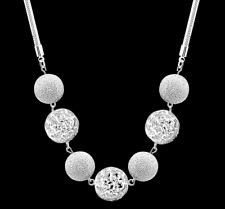 925 Sterling Silver Round Charm Pendant Necklace Snake Chain Fashion Women Beads