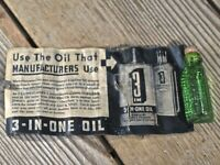 Old 3 IN 1 Oil green triangle cork bottle Western Auto Store advertising vintage