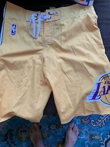 QUICKSILVER NBA LOS ANGELES LAKERS Swim Trunks Board Shorts Men Sz 29