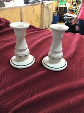 Longaberger Pottery Candle Stick Holders Set of 2 Classic Blue