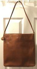 MONSAC Cognac Brown Glazed Leather Purse Tan Shoulder Bag Structured Tote Large