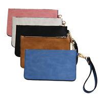 Retro Women PU Leather Messenger Wristlet Clutch Pouch Bag Purse Zip Wallet BI