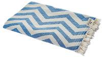 Hamamtuch Zickzack blau weiß Strandtuch Pareo Saunatuch 90x175 cm 100% Baumwolle