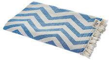 Hamam Cloth Zigzag Blue White Towel Pareo Sauna 35 3/8x68 7/8in 100% Cotton