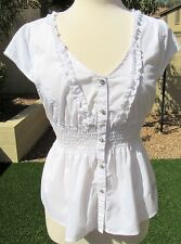 Dereon Size Size L White Lace Ruffle Embellished Cap Sleeve Blouse Top Shirt