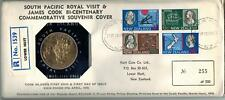 Captain Cook New Zealand South Pacific Royal Visit $1 PNC Coin Souvenir FDC 1970