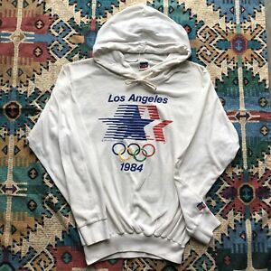Vintage Levi's 1984 Los Angeles USA Olympics Hoodie Paper Thin White 80s Small S