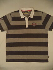 Everlast Men Classic Polo Shirt. High Quality. Grey&Charcoal stripes. SZ L. BNWT