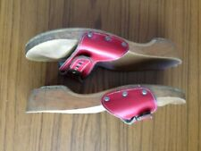 vintage 1960s Scholl type wooden sandals with red leather strap