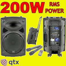QTX QR12PA Portable PA DJ Active Speaker Usb Sd Card 2xRadio Mics, Battery/Mains