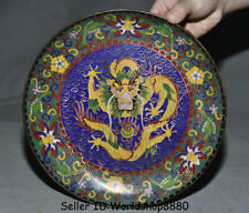 "10"" Marked Old Chinese Cloisonne Enamel Bronze Dynasty Palace Dragon Plate Tray"