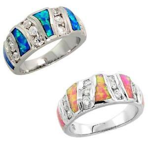 Sterlingsilber Opal Band Ring W / Brillantschliff Cz Steine