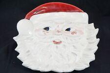 Vintage Jolly Santa Claus Ceramic Christmas Ornament Wall Hanging Figure Dish