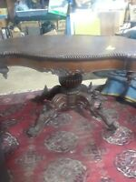 VICTORIAN ANTIQUE LG OVAL SWIVEL TABLE Base well CARVED