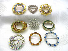 VINTAGE ESTATE LOT OF 9 ALL PRONG SET RHINESTONE GOLD SILVER TONE BROOCH PIN # 2