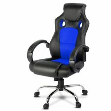 Racing Office Chair Seat Executive Computer Gaming PU Leather Black Blue RTS