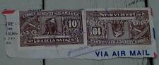 Set of 2 Vintage Used Correo Aereo Nicaragua 10 Dia de la Raza Stamp, GD CND