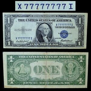 1935-F $1 SILVER CERTIFICATE ✪ SOLID SERIAL NUMBER 7 ✪ 77777777 PMG 30 ◢TRUSTED◣