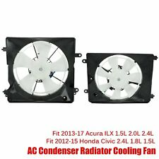A/C Ac Condenser Radiator Cooling Fan 2Pcs Fit 2012-2015 Honda Civic 13-17 Acura