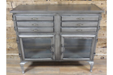 INDUSTRIAL CABINET GLASS FRONTED METAL DISPLAY CABINET STORAGE UNIT H87cm x W100