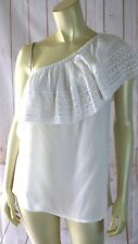 Como Petite Top PM New Ivory One Shoulder Sheer Textured Rayon Poly Crochet Edge