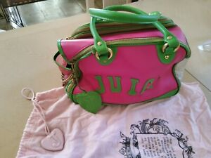 Juicy Couture Small Dog Pet Carrier Pink & Green with Dust Bag