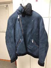 Bonobos - The Shearling Leather Bomber Jacket, Navy Blue, Size L (slim fit)