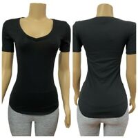 VICTORIAS SECRET Everyday Solid Black V-Neck FITTED Tee T-Shirt Top