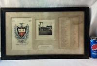 Vtg 1919 Victorian Document Style Black Wood Frame Palm Beach Photo Guest List