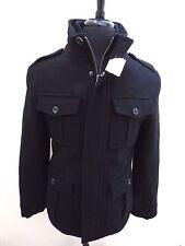 New Men's Merona 4 pocket Military style Black Wool Blend Coat Men's sz. Small S