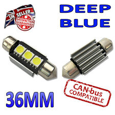 2 x Blue Canbus LED 36mm Festoon Bright Interior Plate Lights C5W 3 SMD Bulbs