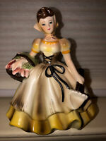 Vintage Lefton Blue Eyed Girl Planter Priscilla Gardener Yellow Dress