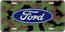 FORD LOGO on CAMO Background - Raised Embosed Metal License Plate - FREE SHIP